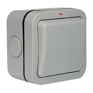 Masterplug IP66 20A Single Exterior Double Pole Switch - Grey