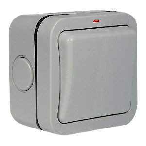 Masterplug IP66 20A Single Exterior 2 Way Switch - Grey