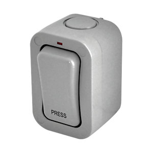 Masterplug IP66 20A Single Exterior 1 Way Press Switch - Grey