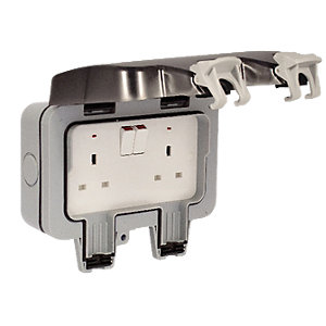 Masterplug IP66 13A Twin Exterior Switched Socket - Grey