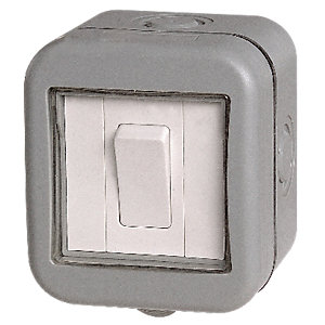 Masterplug IP55 10A Single Exterior 2 Way Switch - Grey