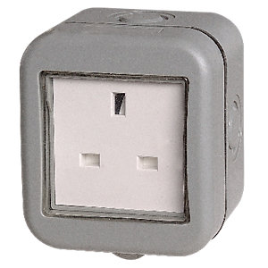 Image of Masterplug IP55 13A Single Exterior Unswitched Socket - Grey