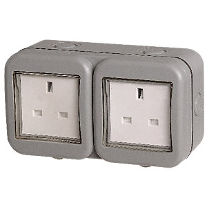 Image of Masterplug IP55 13A Twin Exterior Unswitched Socket - Grey