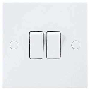 BG Double Switch 2 Gang 2 Way 10A White