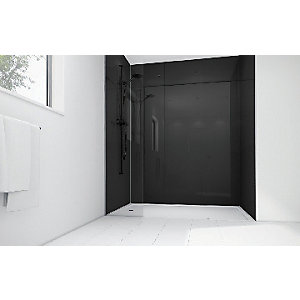 Mermaid Black Acrylic 3 Sided Shower Panel Kit