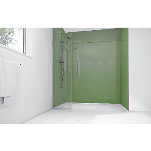 Mermaid Forest Green Acrylic 3 Sided Shower Panel Kit