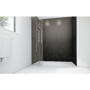 Mermaid Obsidian Gloss Laminate 3 Sided Shower Panel Kit