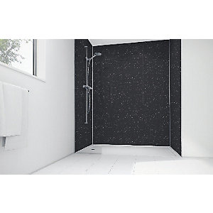 Image of Mermaid Black Sparkle Gloss Laminate 3 sided Shower Panel Kit 900mm x 900mm