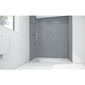 Image of Wickes Silver Diamond Acrylic 3 Sided Shower Panel Kit - 1200 x 900mm