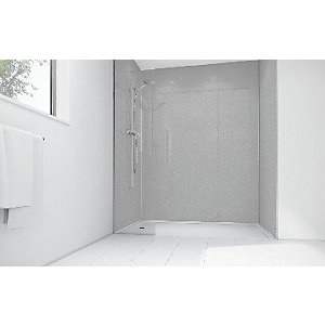 Image of Wickes White Diamond Acrylic 3 Sided Shower Panel Kit - 1200 x 900mm