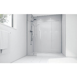 Image of Wickes White Acrylic 3 Sided Shower Panel Kit - 1700 x 900mm