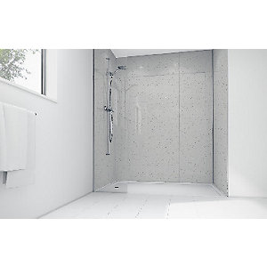 Image of White Sparkle Gloss Laminate 3 Sided Shower Panel Kit - 1700 x 900mm