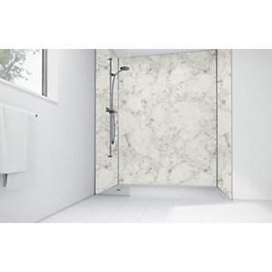 Mermaid White Calacatta Laminate 2 Sided Shower Panel Kit