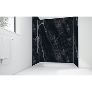 Mermaid Black Calacatta Laminate 2 Sided Shower Panel Kit