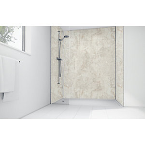 Mermaid Cream Calacatta Laminate 2 Sided Shower Panel Kit