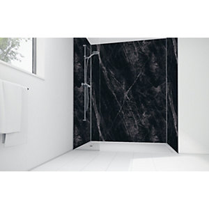 Mermaid Black Calacatta Laminate 3 Sided Shower Panel Kit