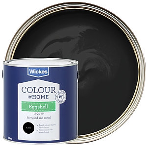 Wickes Colour @ Home Eggshell Paint - Black 1L
