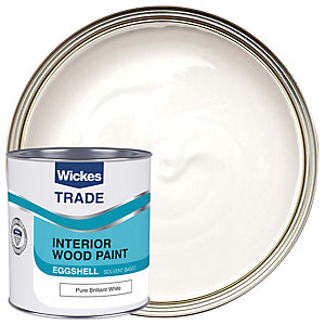 Wickes Trade Eggshell Paint - Pure Brilliant White 1L