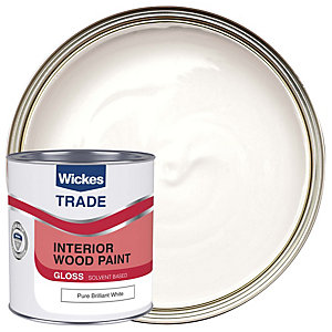 Wickes Trade Non-Drip Gloss Paint - Pure Brilliant White 1L