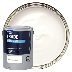 Wickes Trade Vinyl Matt Emulsion Paint - Pure Brilliant White 5L