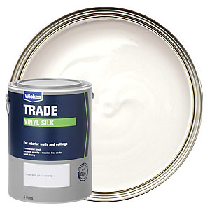 Wickes Trade Vinyl Silk Emulsion Paint - Pure Brilliant White 5L