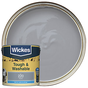 Wickes Pewter - No. 220 Tough & Washable Matt Emulsion Paint - 2.5L