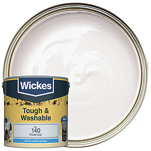 Wickes Powder Grey - No. 140 Tough & Washable Matt Emulsion Paint - 2.5L
