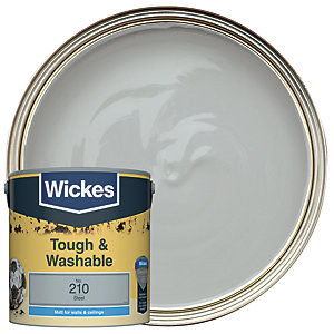 Wickes Steel - No. 210 Tough & Washable Matt Emulsion Paint - 2.5L
