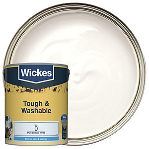 Wickes Pure Brilliant White - No. 0 Tough & Washable Matt Emulsion Paint - 5L