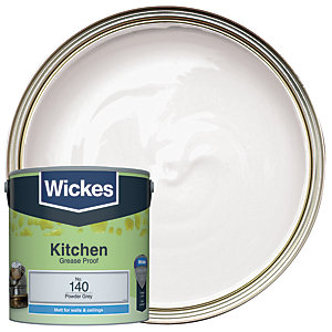 Wickes Powder Grey - No. 140 Kitchen Matt Emulsion Paint - 2.5L