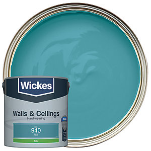 Wickes Teal - No. 940 Vinyl Silk Emulsion Paint - 2.5L