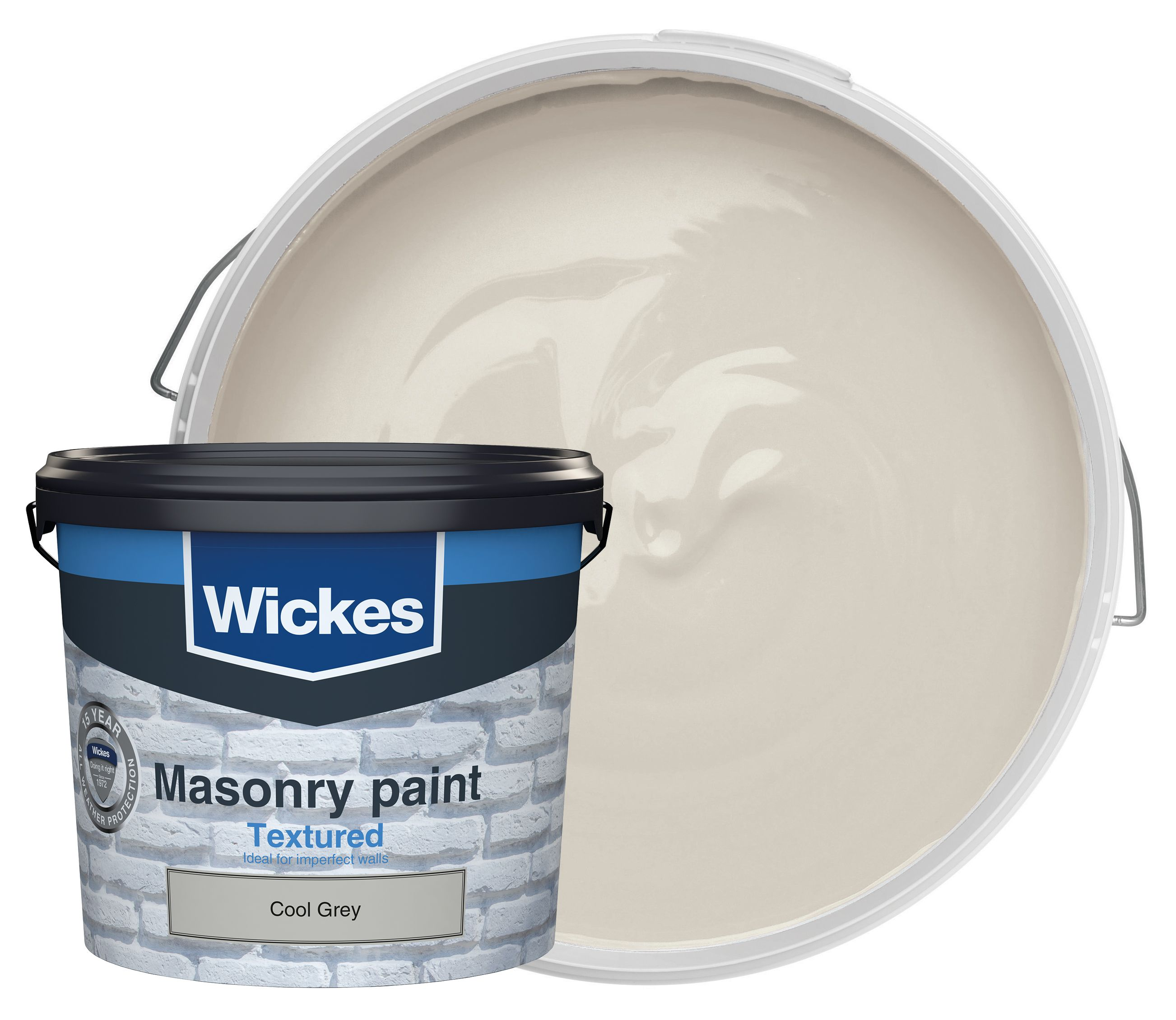 Wickes Textured Masonry Paint Cool Grey 5L Wickescouk