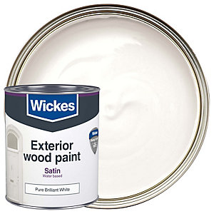 Wickes Exterior Satinwood Paint Pure Brilliant White 750ml