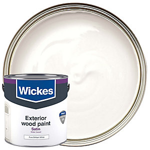 Wickes Exterior Satinwood Paint Pure Brilliant White 2.5L