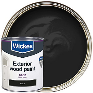 Wickes Exterior Satinwood Paint Black 750ml