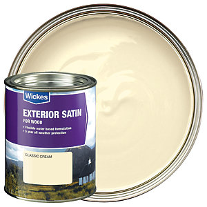Wickes Exterior Satin Paint - Classic Cream 750ml