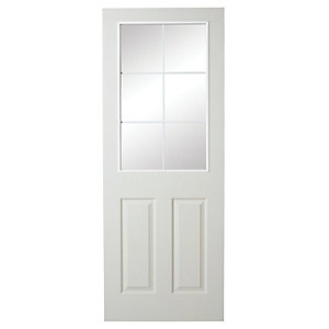 Wickes 6 Light Internal White Glazed Primed Grained Moulded Door - 1981 x 762mm