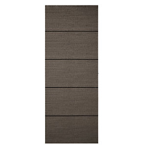 Wickes Milan Internal 4 Line Horizontal Charcoal Grey Real Wood Veneer Door - 1981 x 762mm