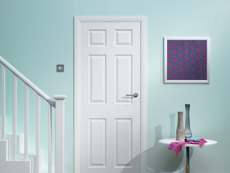 Wickes Woburn White Grained Moulded 6 Panel Internal Door - 1981mm x 762mm