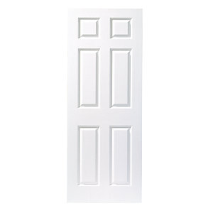 Wickes Woburn White Grained Moulded 6 Panel Internal Door - 2032mm x 813mm