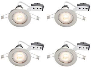 Wickes brushed chrome led downlight 48w pack of 4 wickes aloadofball Images