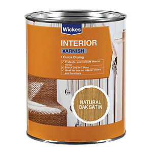 Wickes Quick Drying Interior Varnish - Natural Oak Satin 750ml