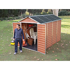 Image of Palram 6 x 10 ft Large Amber Double Door Plastic Apex Shed with Skylight Roof