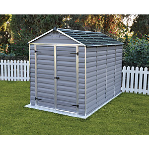 Image of Palram 6 x 10 ft Large Grey Double Door Plastic Apex Shed with Skylight Roof