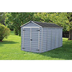 Palram 6 x 12 ft Skylight Double Door Plastic Shed Grey Best Price, Cheapest Prices