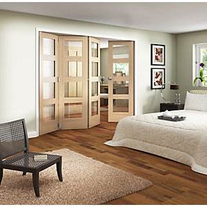 Wickes Ashton Internal Folding Door Oak Veneer Glazed 4 Lite 4 Door 2047 x 2545mm