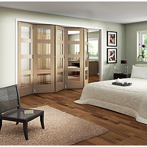 Wickes Ashton Internal Folding Door Oak Veneer Glazed 4 Lite 5 Door 2047 x 3158mm