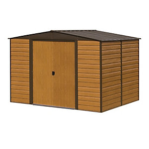 Rowlinson 10 x 6 ftWoodvale Large Double Door Metal Apex Shed without Floor