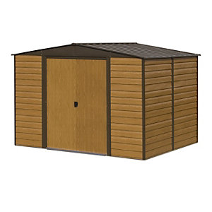 Image of Rowlinson 10 x 12 ft Woodvale Large Double Door Metal Apex Shed without Floor