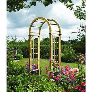 Image of Rowlinson Curved Wooden Trellis Garden Arch - 1240 x 650 mm